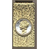 2-Toned Gold on Silver Old  U.S. Mercury dime (Hinged) Money clips