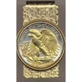 2-Toned Gold on Silver Old  U.S. Walking Liberty (Eagle side) half dollar (Hinged) Money clips