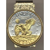2-Toned  Gold on Silver Eisenhower dollar eagle (Hinged) Money clips