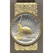 2-Toned Gold on Silver Statue of Liberty half dollar (Hinge) Money clip