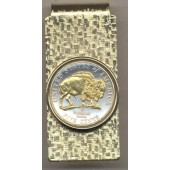 2-Toned Gold on Silver New Bison nickel coin (Hinge) Money clip