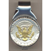 2-Toned Gold on Silver Kennedy  half dollar (Eagle) (Spring loaded) Money clip