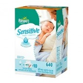 Pampers Soft Care Sensible toallitas para bebés-Tub más recambios, 640 ct.