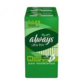 Always Toallas Super Delgadas Largas- 64 ct.