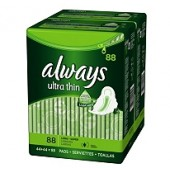 Always Ultra Delgadas Toallas Super Largas con Alas - 88 ct.