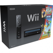 Nintendo - Nintendo Wii Console (Negro) con New Super Mario Bros. Wii Game and Music CD